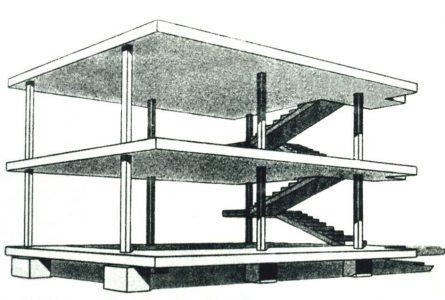 Le Corbusier, Maison Dom-ino, 1914, Đồ án không xây dựng